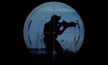 Sniper during night mission/operation hostage rescue.view through the night vision scope stock vector