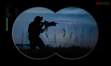 rangers team during night operation hostage rescue.view through