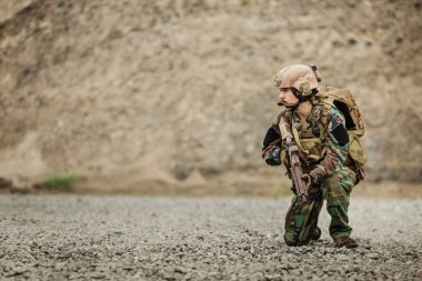 portrait of the special forces ranger on battlefield