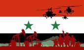 Muslimští vojáci s puškou na islámský stát vlajky základy