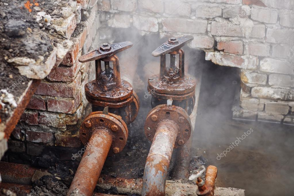 Repair broken old rusty pipes of the heating system in water u2014 Photo by kaninstudio & Repair broken old rusty pipes of the heating system u2014 Stock Photo ...