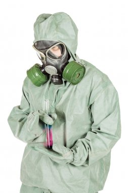 Man with protective mask and protective clothes examines a water sample