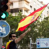 Demonstrace pořádaná krajně pravicovou stranou VOX v Madridu se španělskými nacionalistickými symboly