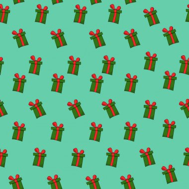 Seamless pattern on green background with dark green gift boxes and red ribbons icon