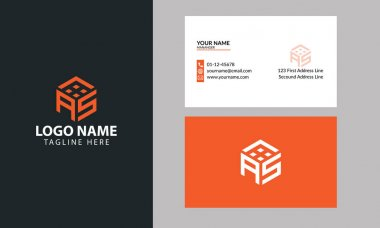 AS Cube logo design template for real estate with business card icon