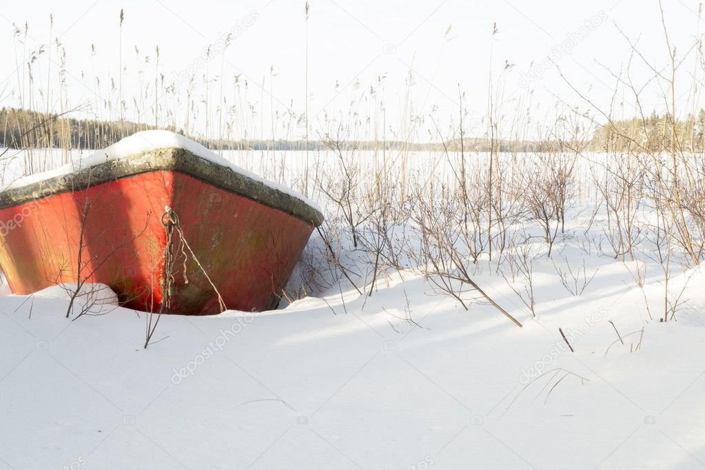 Rowboat covered in Snow