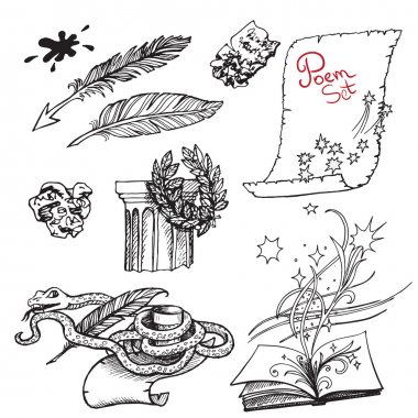 Set of black and white drawings on the theme of literature and poetry. Illustrations for the book design.