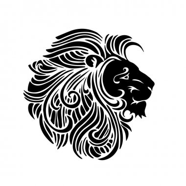 Black and white silhouette ornamental decorative lion