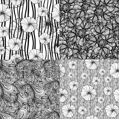 Set of four seamless floral textures