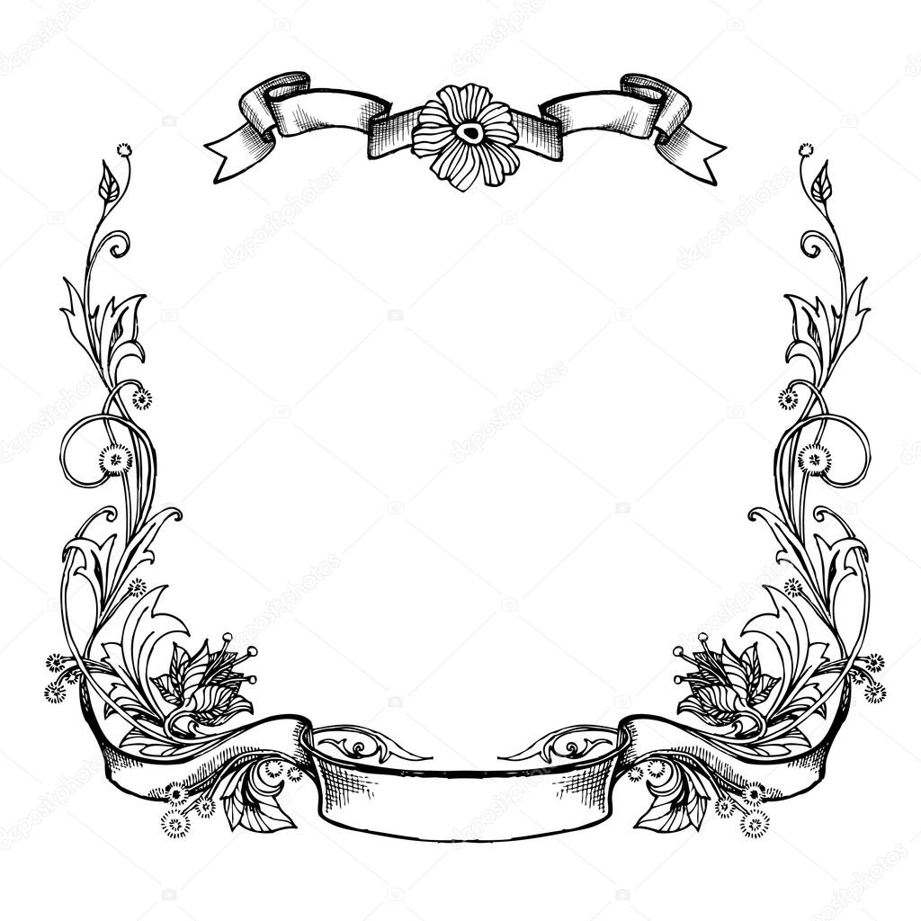 Marcos florales negros — Vector de stock © tinkerfrost #64621675