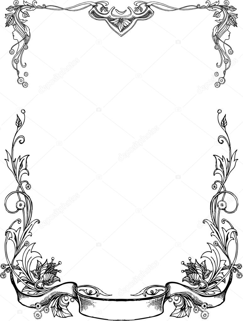 Black And White floral frames. — Stock Vector © tinkerfrost #68951641