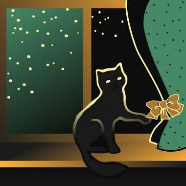 Black kitten sitting on a window sill.