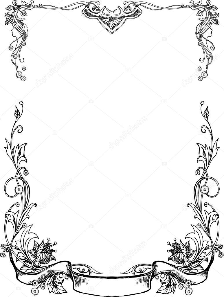 Black And White floral Frames.
