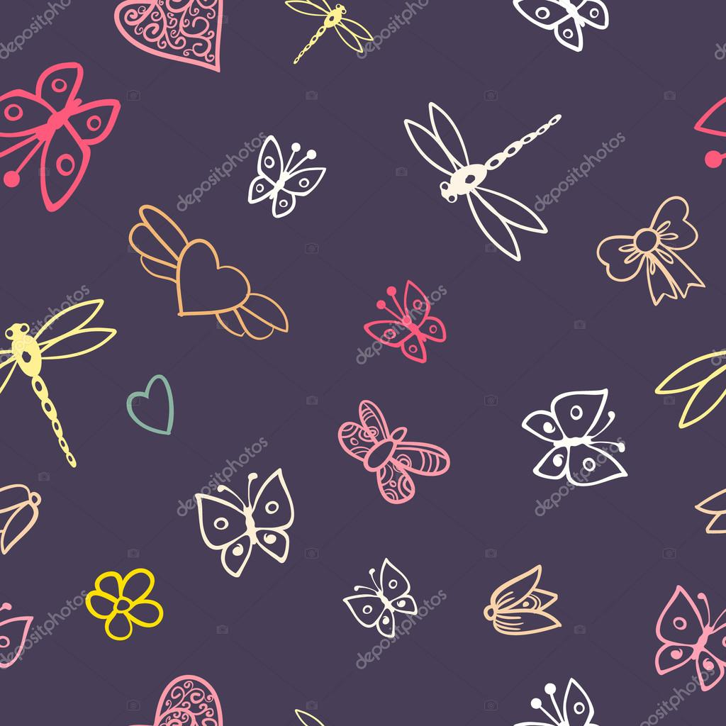romantic seamless pattern with butterflies, hearts and flowers