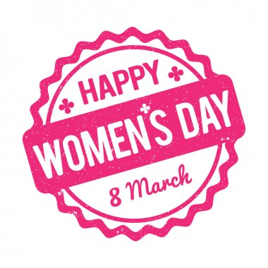 Happy Women's Day rubber stamp pink on a white background.