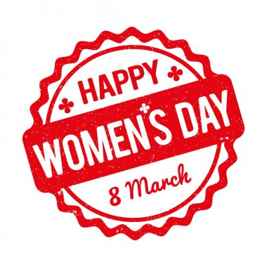 Happy Women's Day rubber stamp red on a white background.