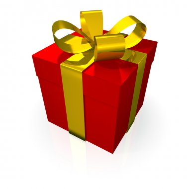 Gift red with golden ribbon