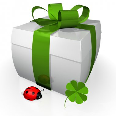 Gift with red bow, clover and ladybug