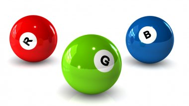 Billiard balls on a white background with letters RGB