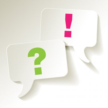 Chat speech bubbles question mark green exclamation pink