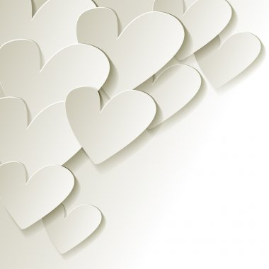 White paper hearts vector in corner