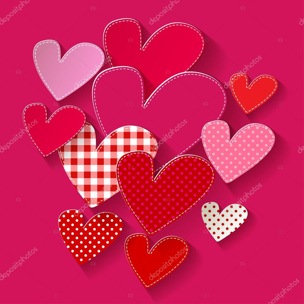 Colorful Hearts pink patchwork