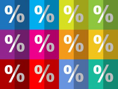 Percent symbols on pattern checkered colorful background