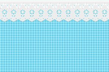 Openwork embroidery on checkered blue pattern background
