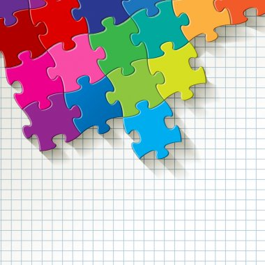 Puzzle colorful on checkered pattern background