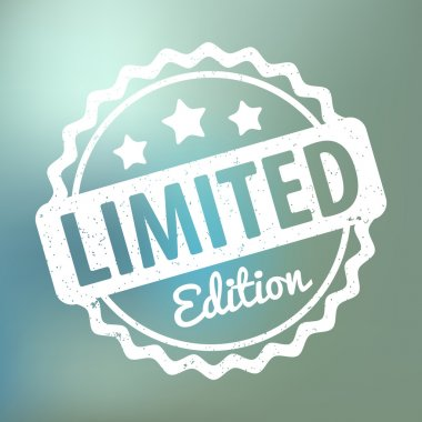 Limited Edition rubber stamp award vector on bokeh background