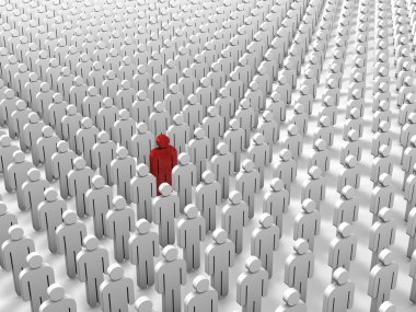 Abstract individuality, uniqueness and leadership business concept - single red 3D people figure in crowded group of white figures