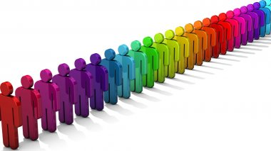 3D people figure in row of colorful figures isolated on white background. Convergent perspective.