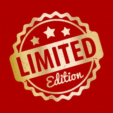 Limited Edition rubber stamp award vector gold on a red background.