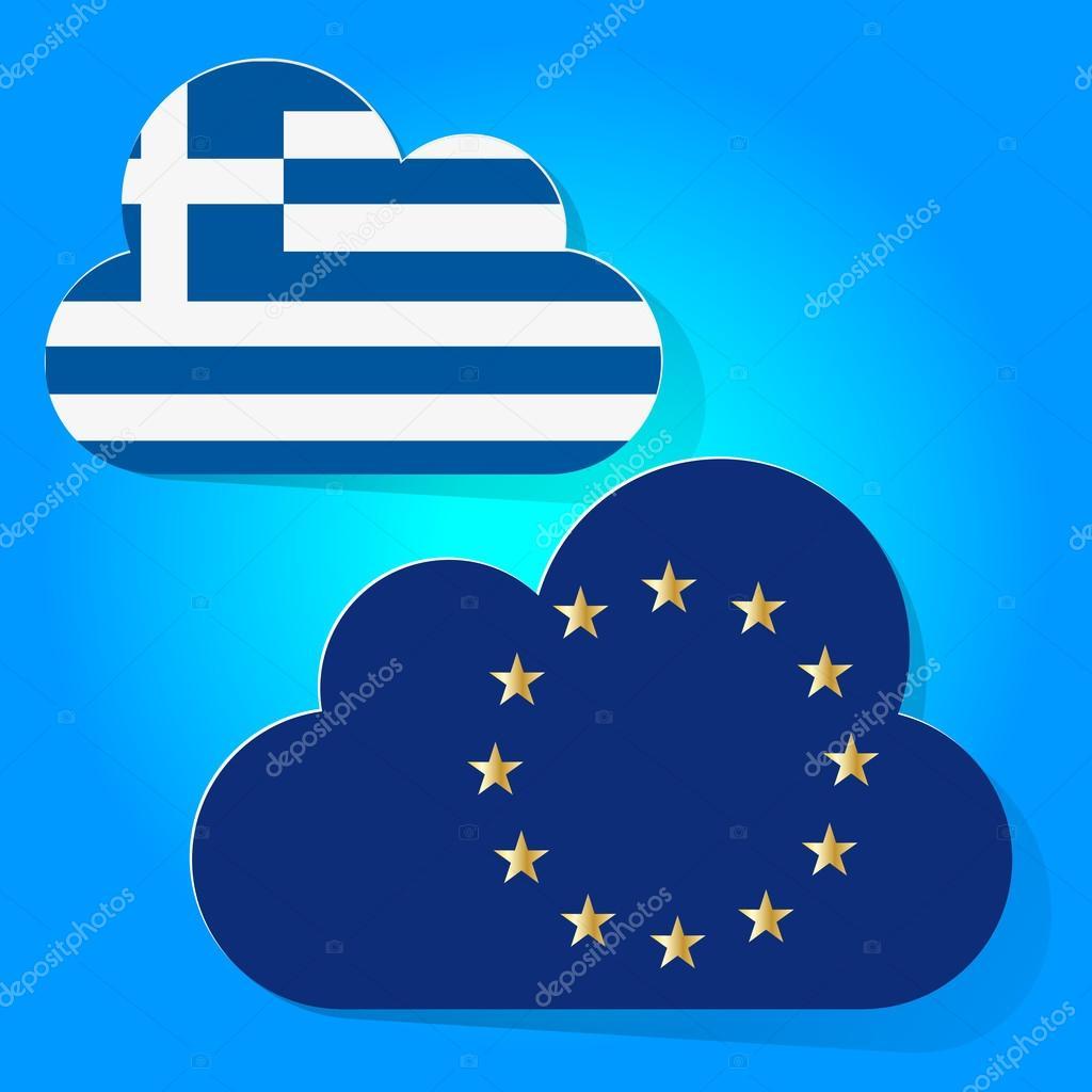 青空の背景に雲と欧州共同体とギ...