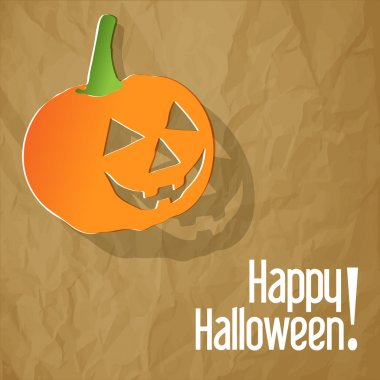Happy Halloween postcard with pumpkin on a crumpled paper brown background.