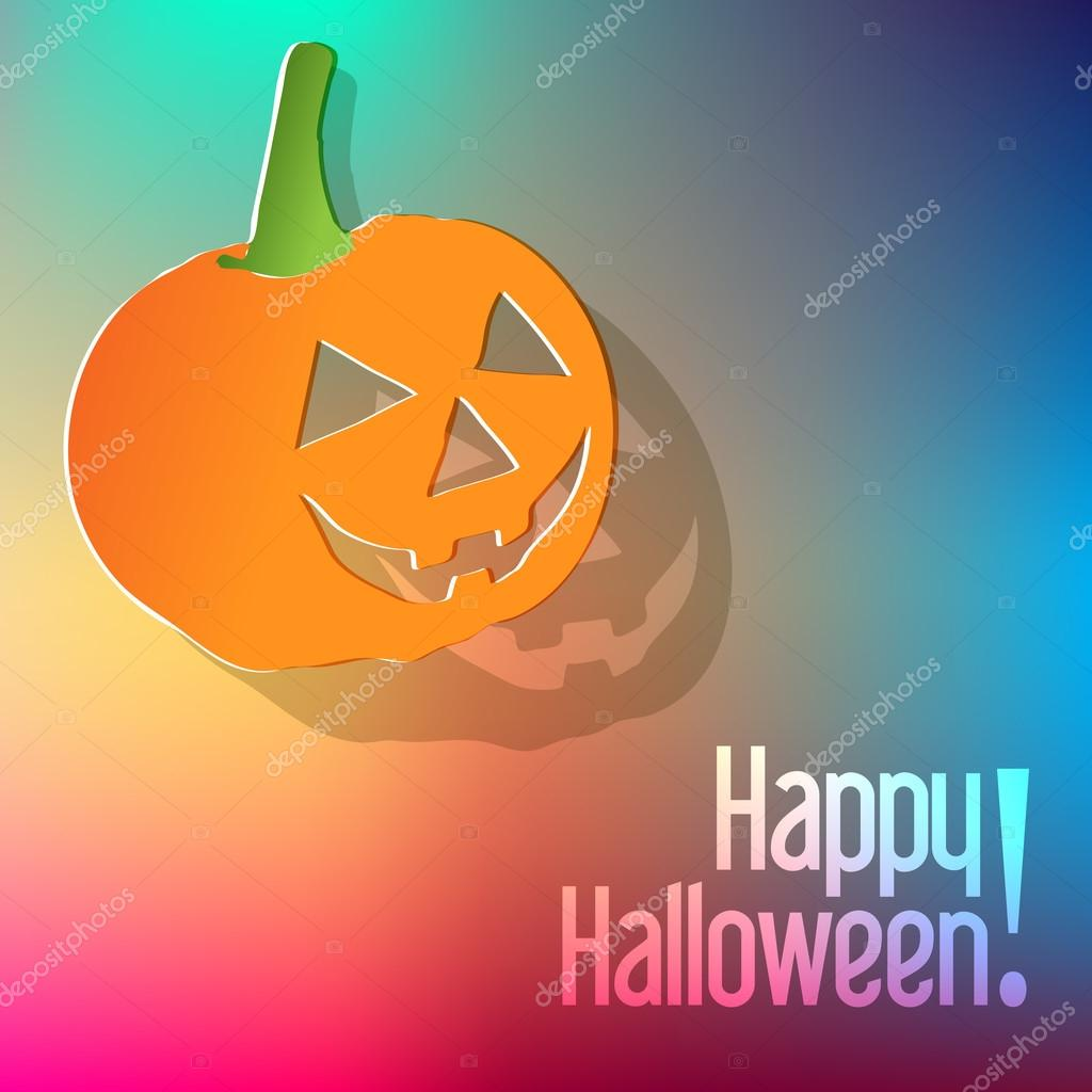 happy halloween postcard with pumpkin on a rainbow background stock vector