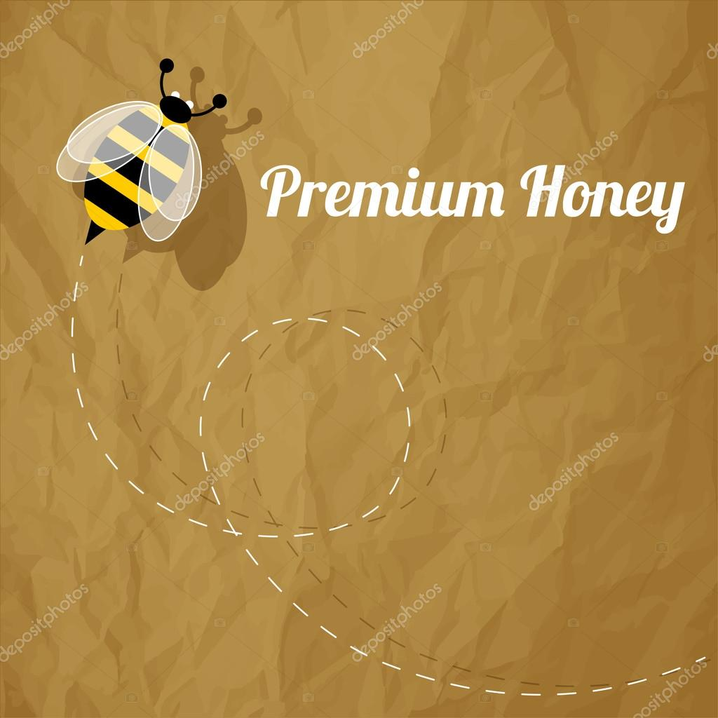 Premium Honey Bee on a crumpled paper brown background.