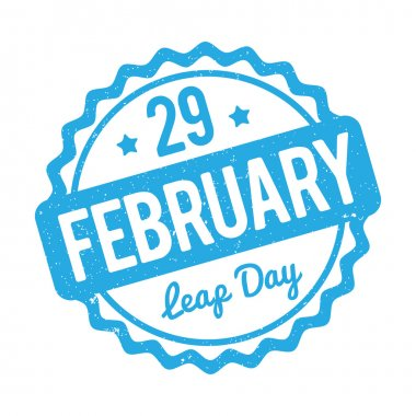 29 February Leap Day rubber stamp blue on a white background.