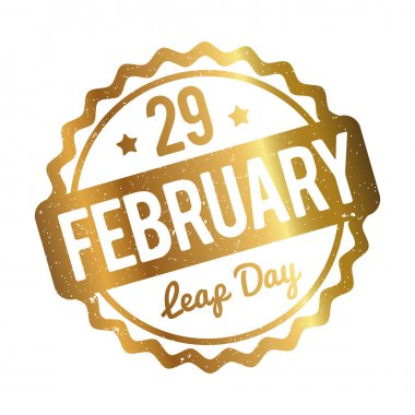 29 February Leap Day rubber stamp gold on a white background.