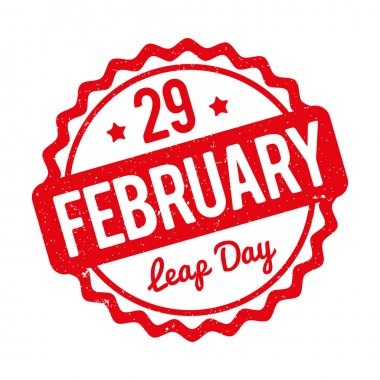 29 February Leap Day rubber stamp red on a white background.
