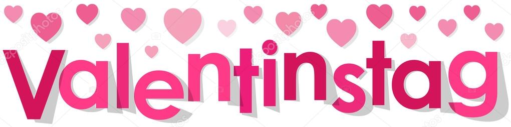 Valentinstag Banner German Text With Hearts Pink On A White Background. U2014  Stock Vector #