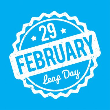 29 February Leap Day rubber stamp white on a blue background.