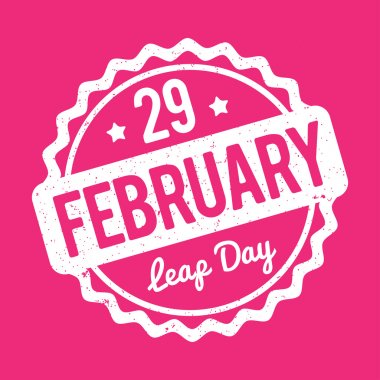 29 February Leap Day rubber stamp white on a pink background.
