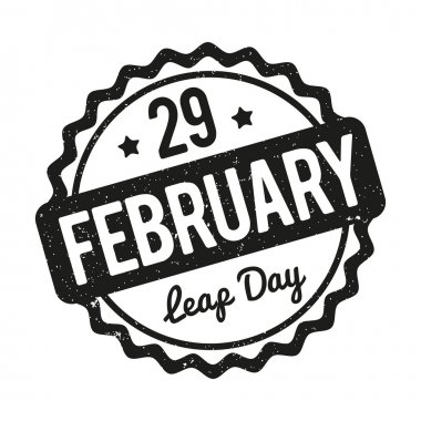 29 February Leap Day rubber stamp black on a white background.