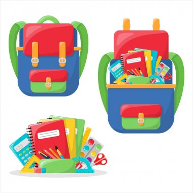 Writing materials inside the school backpack. Bright and colorful backpack. In the style of a cartoon. Isolated on a white background. A set of school supplies. Student backpack with lunch and icon