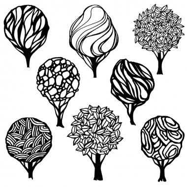 Set of hand-drawn stylized trees