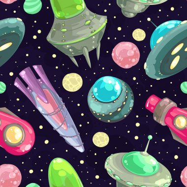 Seamless pattern with spaceships and planets