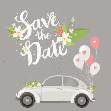 Save the date lettering card with retro car and balloons. Vector illustration clip art vector