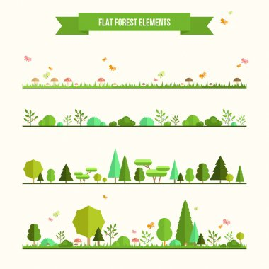 Trendy and beautiful set of flat forest elements. Include grass, mushrooms, berries, bushes and trees stock vector