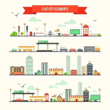 Great set with city elements for creating your own map. Map elements for your pattern, infographic, web site or other type of design. clip art vector